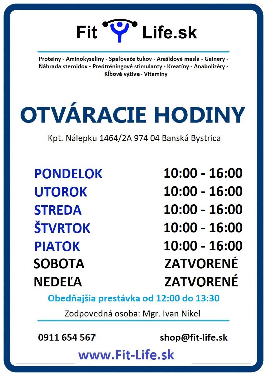 otváracie hodiny fitlife športová výživa Banská Bystrica